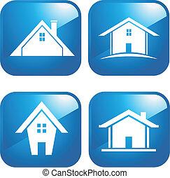 藍色, 房子, 圖象