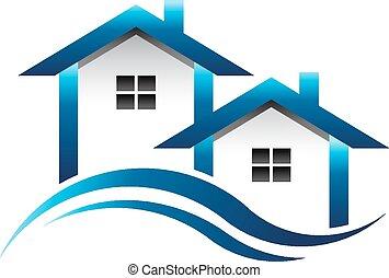 藍色, 房子, 房地產, 標識語