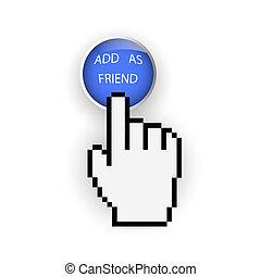 藍色, 按鈕, 手, 游標, 增加, 輪, 朋友