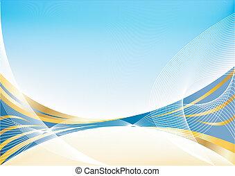 藍色, 摘要, 矢量, 金, 背景