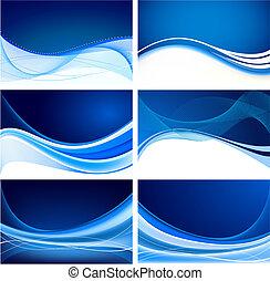 藍色, 摘要, 集合, 背景, 矢量