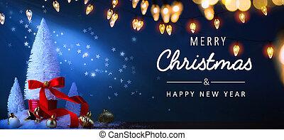 藍色, 旗幟, 背景, 樹, 或者, 問候, 光, 聖誕節, background;, 假期, 藝術, 卡片