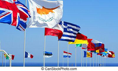 藍色, 旗, 良好, 天空, 針對