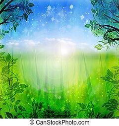 藍色, 春天, 綠色的背景
