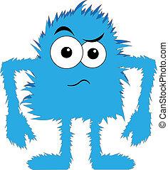 藍色, 有舌苔, 打翻, 怪物, 臉