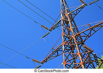 藍色, 桿, 電, 背景
