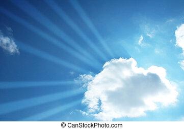 藍色, 梁, 天空, 透過, 太陽, 雲