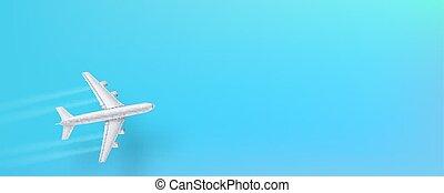 藍色, 概念, 噴气式飛机, sky., 頂部, 飛行, 商業, travel., 飛機, 銀, 旅行, 背景。, 飛機, 做廣告, 觀點。, 旗幟, 飛機, 代理