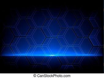 藍色, 概念, 摘要, 背景, 六角形, 技術