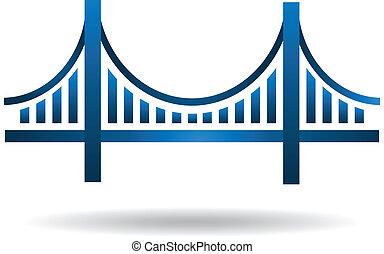 藍色, 橋梁, 矢量, 標識語