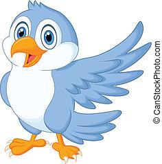 藍色, 漂亮, 招手, 鳥, 卡通