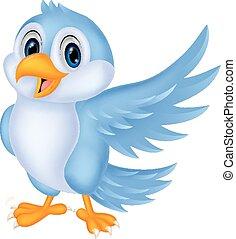 藍色, 漂亮, 鳥, 招手, 卡通