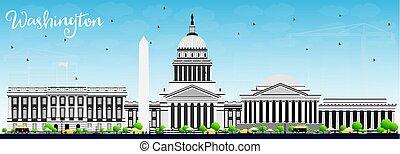 藍色, 灰色, 建筑物, sky., 華盛頓特區, 地平線