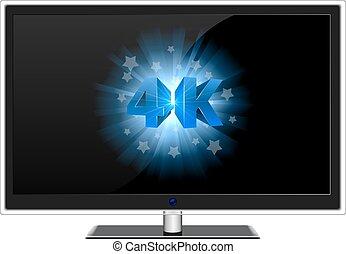 藍色, 現代, 電視, widescreen, 簽署, 4k