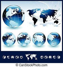 藍色, 球体, 世界地圖