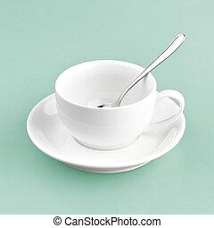 藍色, 白色, 綠色的背景, 杯子