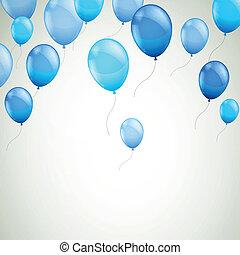 藍色, 矢量, 气球, 背景