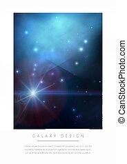 藍色, 空間, 星云, stars., 明亮, 矢量, 設計, 白色, 卡片