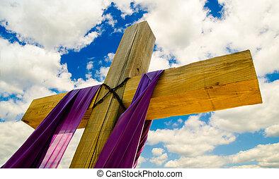 藍色, 窗簾, 云霧, 紫色的天空, 產生雜種, 框格, 背景, 復活節, 或者