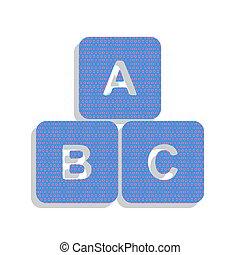 藍色, 立方, illustration., cyclamen, 氖徵候, abc, vector., 圖象