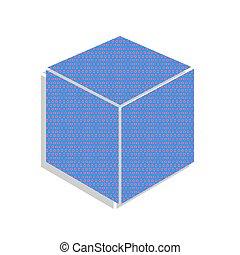 藍色, 立方, illustration., cyclamen, 氖徵候, pol, vector., 圖象