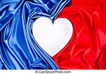 藍色, 紅的心, silk.