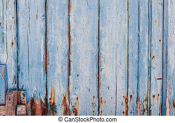 藍色, 繪, 木 紋理, 面板
