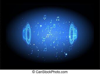 藍色, 聲音, dinamic, 摘要, 插圖, 光, 注釋, 音樂, 背景