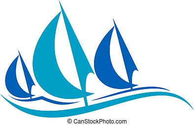 藍色, 航行, 在上, 被風格化, 波浪, 小船