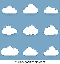 藍色, 被隔离, 形狀, 背景, 懷特雲