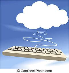 藍色, 計算, 天空, 背景, 鍵盤, 雲