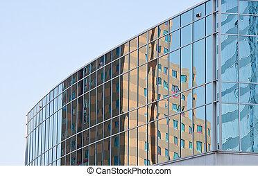 藍色, 辦公室, windows, 旅館, 反映, 黃色