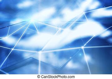 藍色, 連線, 點, 人物面部影像逼真