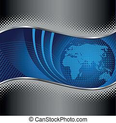 藍色, 邊框, 全球, 金屬, 銀