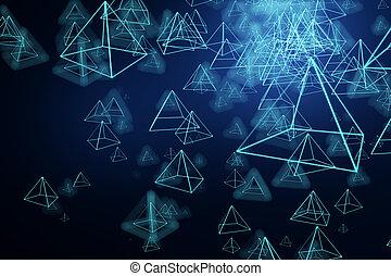 藍色, 金字塔, 背景