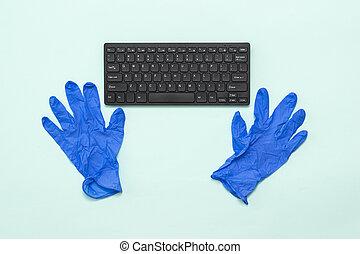 藍色, 鍵盤, 手套, 光, 背景。, 醫學