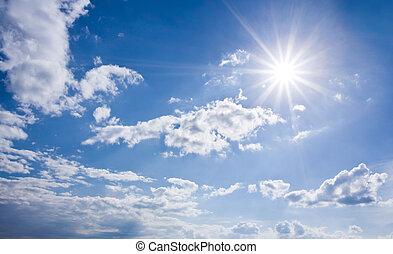 藍色, 陽光普照, 天空