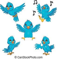 藍色, 集合, 卡通, 彙整, 鳥