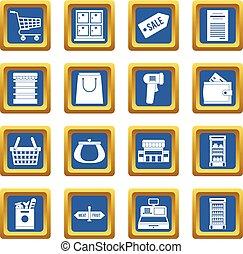 藍色, 集合, 超級市場, 圖象