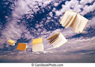藍色, 飛行, 天空, 書, 背景, 群