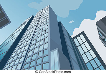 藍色, 高, 天空, 摩天樓, 背景