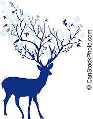 藍色, 鹿, 矢量, 聖誕節