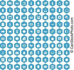 藍色, 100, 集合, 超級市場, 圖象