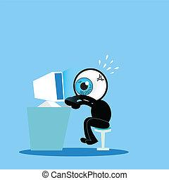 藍色, comp, 努力, 眼睛, 工作