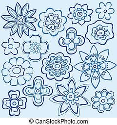 藍色, doodles, 花, 設計, 矢量