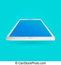藍色, eps10, 片劑, 屏幕, 被隔离, 插圖, 背景。, 矢量, 遠景, 白色, 觀點。, 空