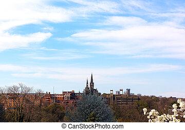 藍色, georgetown, dc, spring., 美國, rosslyn, 天空, 大學, 華盛頓, 在下面, 拍攝