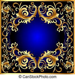 藍色, gold(en), 圖案, 框架, 葡萄酒, 蔬菜