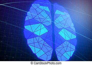 藍色, polygonal, 發光, 背景, 腦子