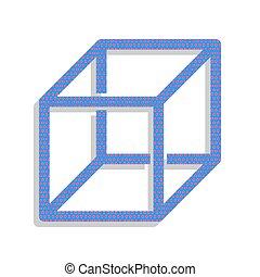藍色, ribs., 立方, 氖徵候, visisble, 被給打電報, vector., 圖象